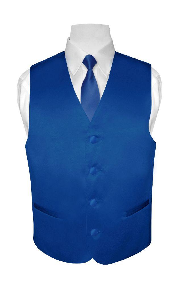 BOY'S Dress Vest & NeckTie Solid ROYAL BLUE Color Neck Ti...