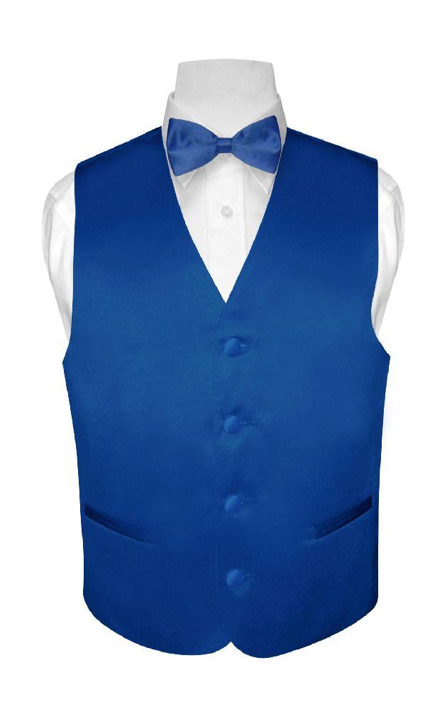BOY'S Dress Vest & BOW TIE Solid ROYAL BLUE Color Bow Tie...