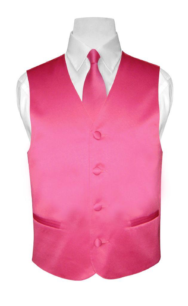 BOY'S Solid HOT PINK FUCHSIA Color Dress Vest NeckTie Set