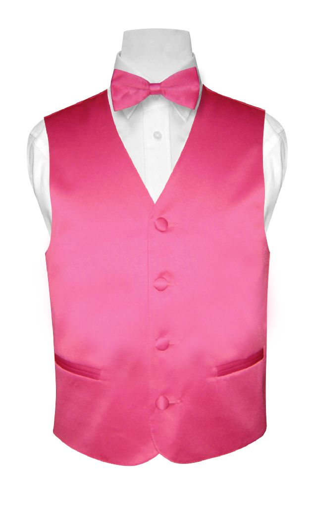 BOY'S Dress Vest & BOW TIE Solid HOT PINK FUCHSIA Color B...