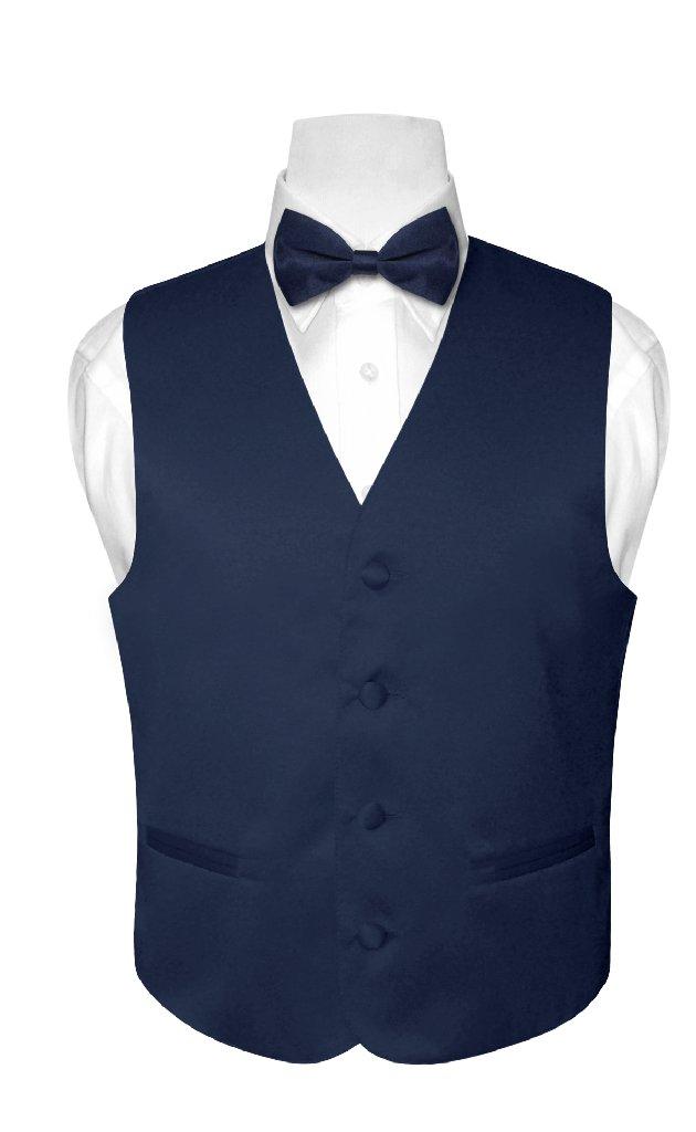BOY'S Dress Vest & BOW TIE Solid NAVY BLUE Color Bow Tie ...