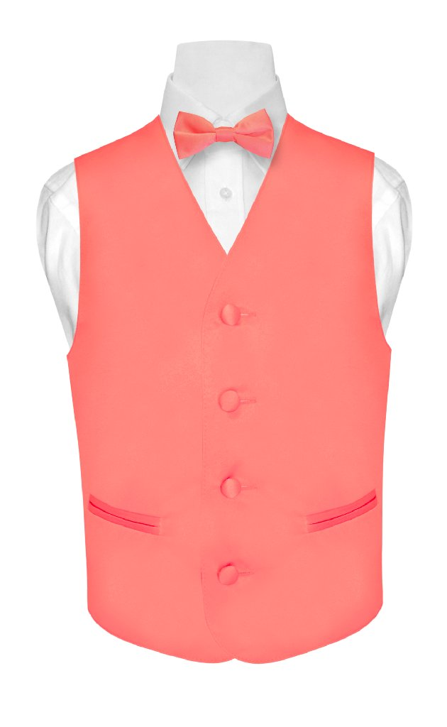 BOY'S Dress Vest & BOW TIE Solid CORAL PINK Color Bow Tie...