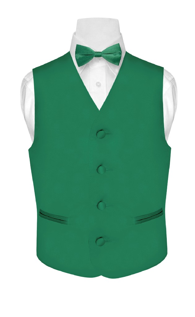 BOY'S Dress Vest & BOW TIE Solid EMERALD GREEN Color Bow ...