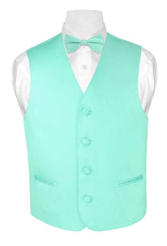 BOY'S Dress Vest & BOW TIE Solid AQUA GREEN Color Bow Tie...