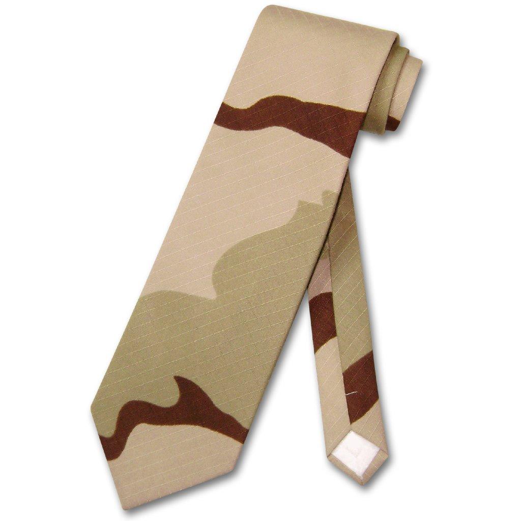 Covona Men's Beige Army Camouflage NeckTie Military Neck Tie