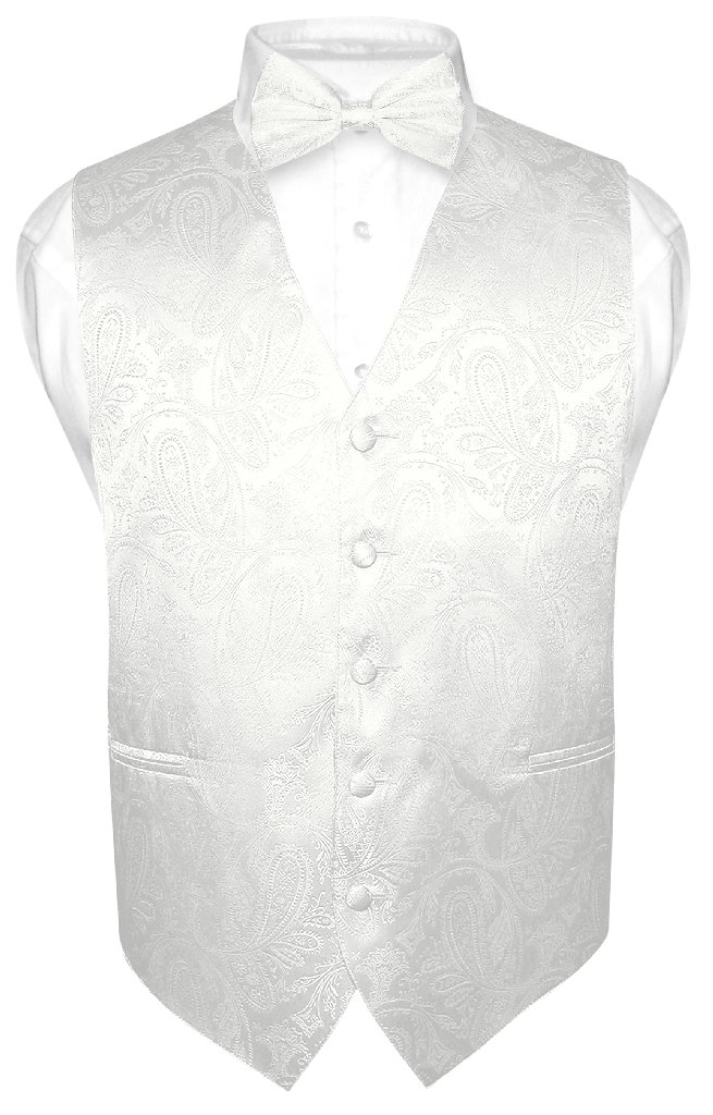 Vesuvio Napoli Men's Off-White Cream Paisley Design Dress Vest and BOWTie Set for Suit / Tuxedo at Sears.com