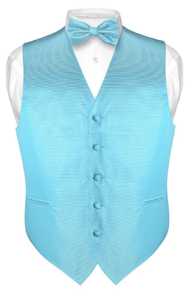 Men's Dress Vest & BOWTie Turquoise Aqua Blue BOW Tie Hor...