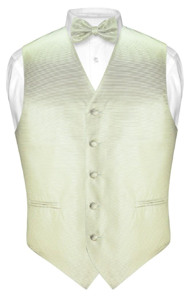 Men's Dress Vest & BOWTie Sage Green Woven BOW Tie Horizo...