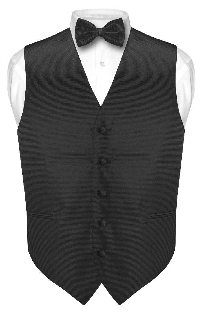 Men's Dress Vest & BOWTie Black Woven BOW Tie Horizontal ...