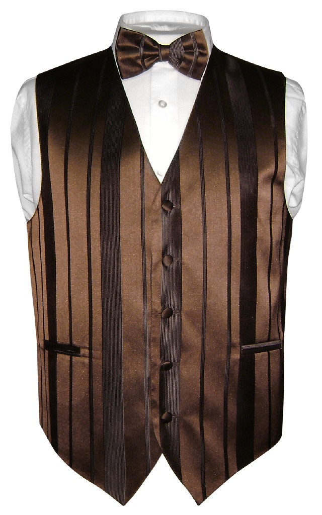 Men's Dress Vest & BOWTie DARK BROWN Color Woven Striped ...
