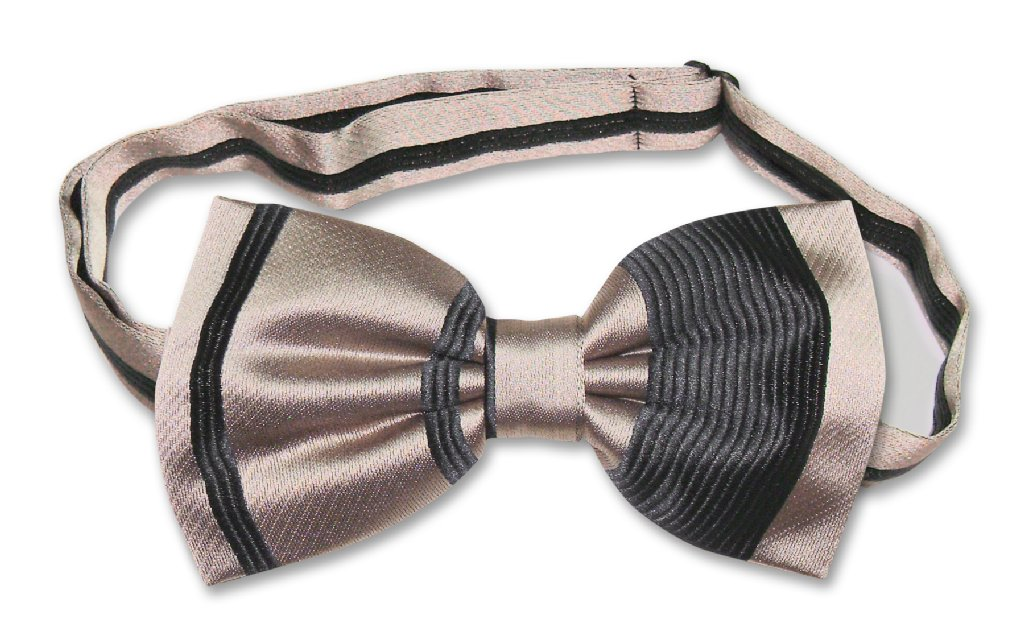 Vesuvio Napoli BOWTIE Taupe Light Brown Woven Striped Design Men's Bow Tie for Tuxedo or Suit at Sears.com
