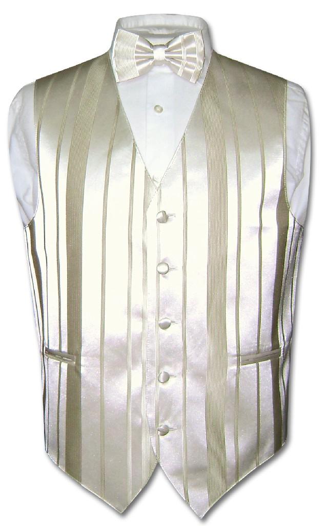Men's Dress Vest & BOWTIE CREAM OFF-WHITE Color Woven Str...