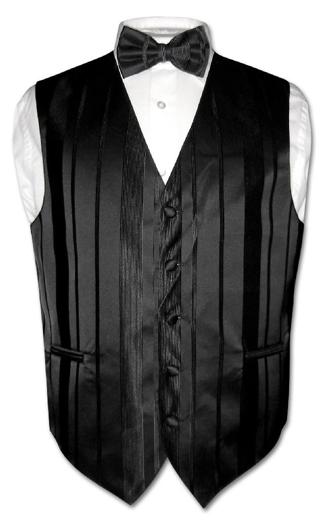 Men's Dress Vest & BOWTIE BLACK Color Woven Striped Desig...