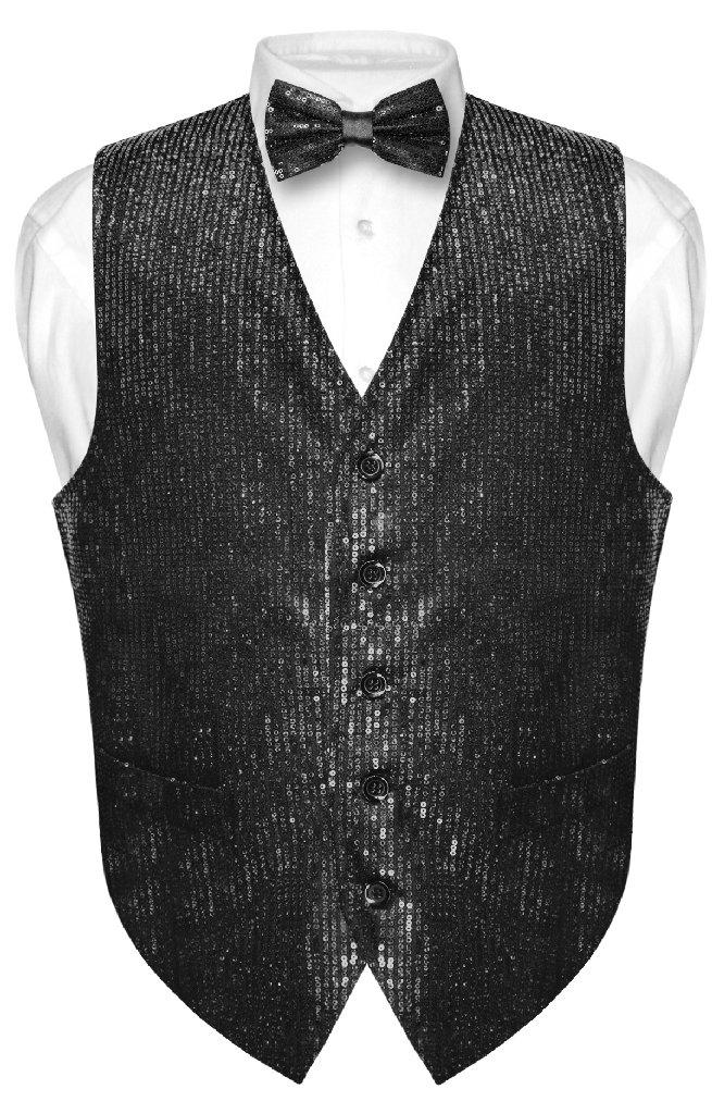 Men's SEQUIN Design Dress Vest & Bow Tie BLACK Color BOWT...