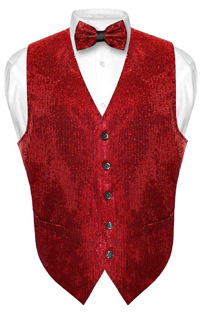 Men's SEQUIN Design Dress Vest & Bow Tie RED Color BOWTie...