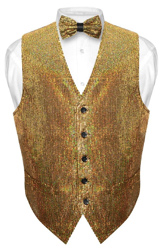 Men's SEQUIN Design Dress Vest & Bow Tie GOLD Color BOWTi...