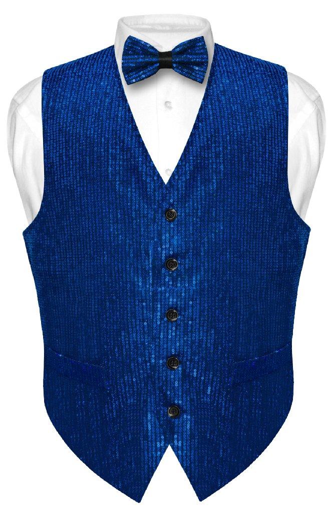 Men's SEQUIN Design Dress Vest & Bow Tie ROYAL BLUE Color...