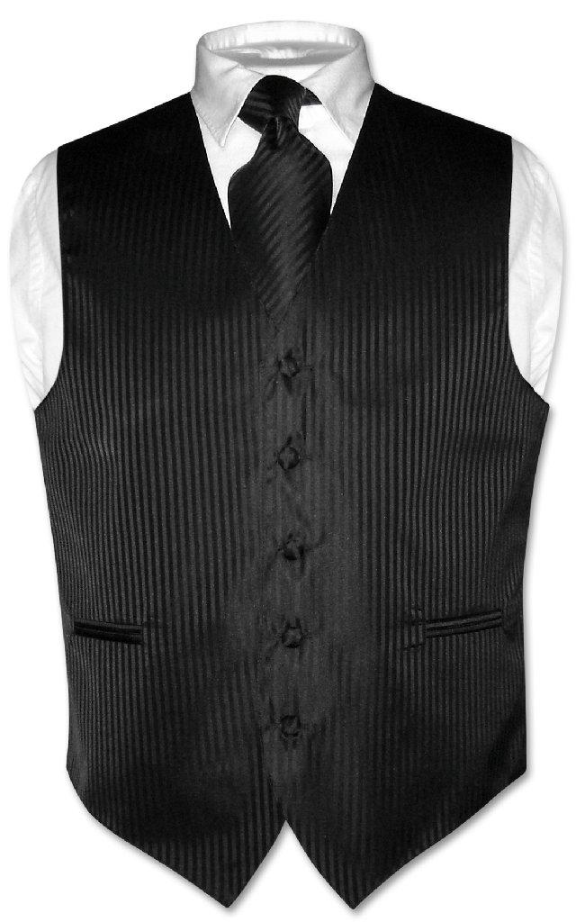 Men's Dress Vest & NeckTie BLACK Vertical Striped Design ...