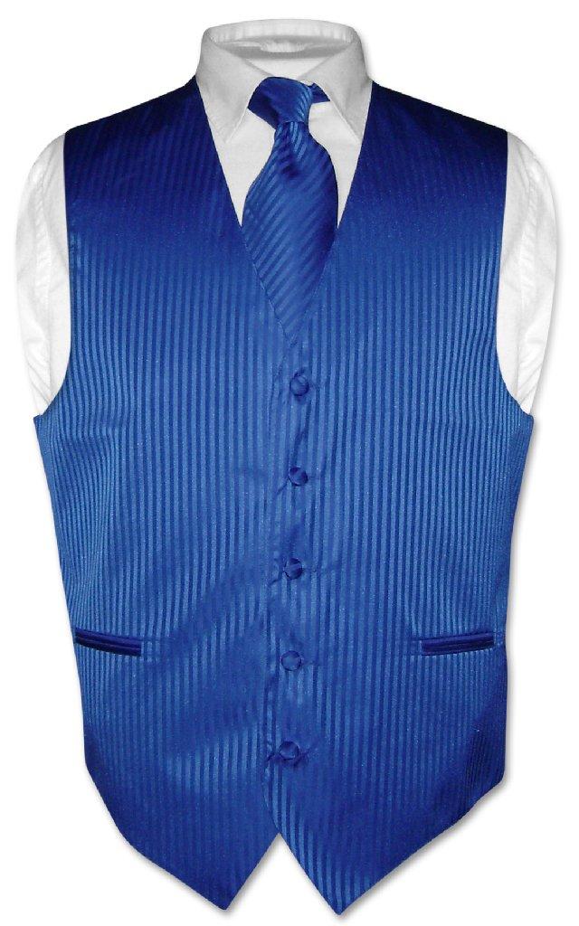 Men's Dress Vest & NeckTie ROYAL BLUE Color Vertical Stri...