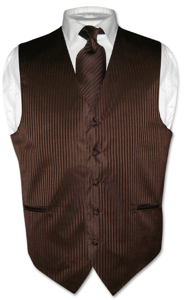 Men's Dress Vest NeckTie CHOCOLATE BROWN Color Striped De...