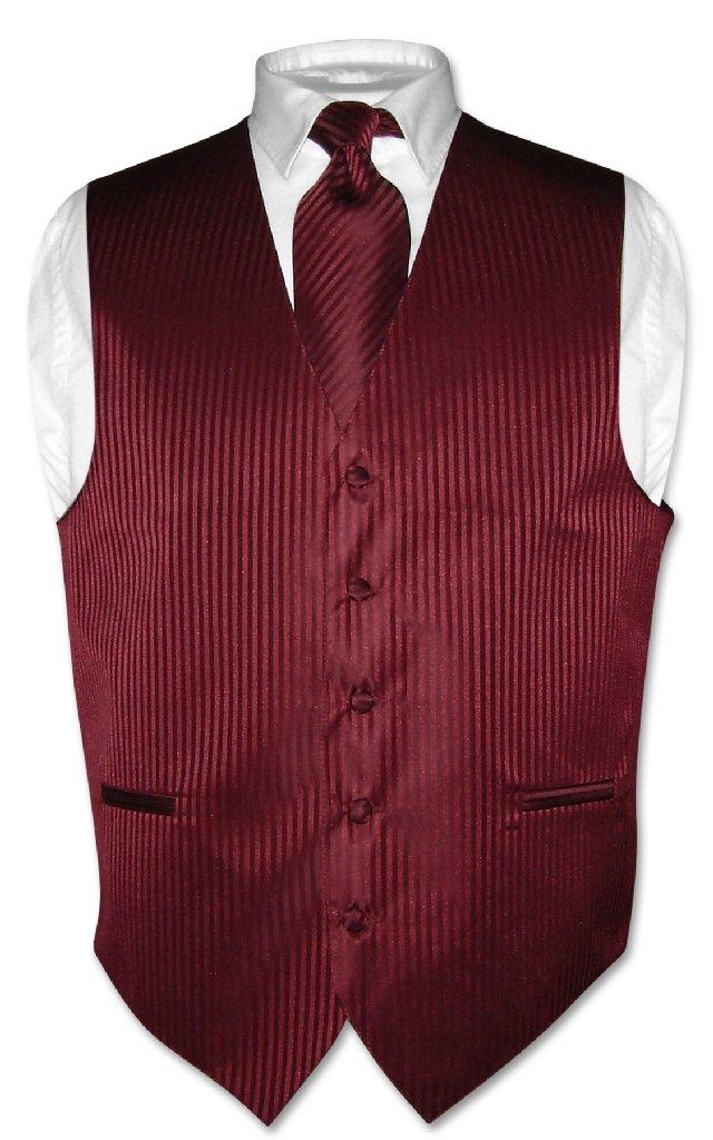 Men's Dress Vest & NeckTie BURGUNDY Vertical Striped Desi...