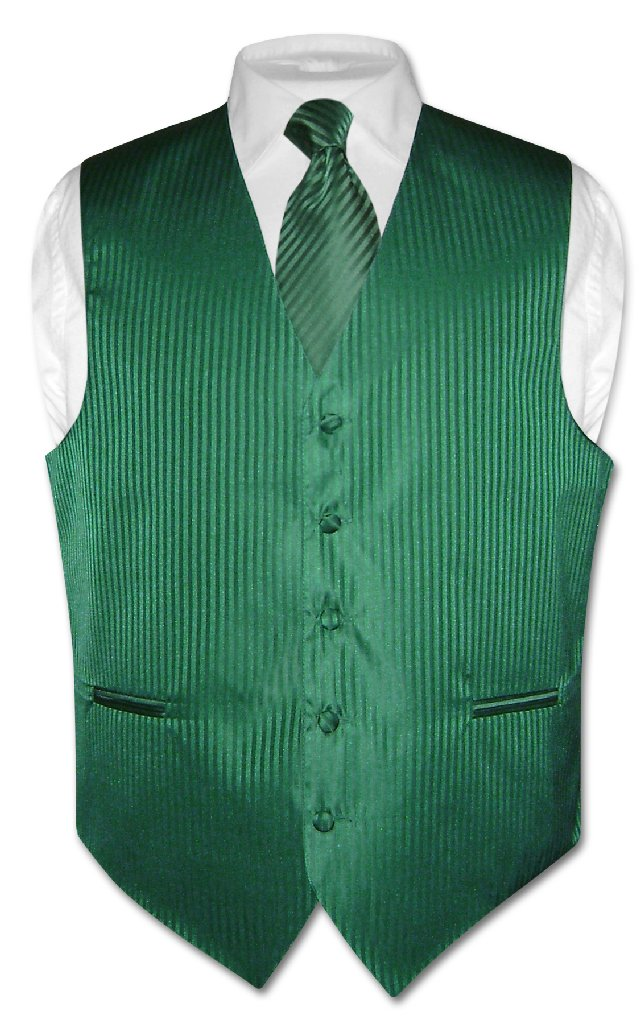Men's Dress Vest NeckTie EMERALD GREEN Vertical Striped D...