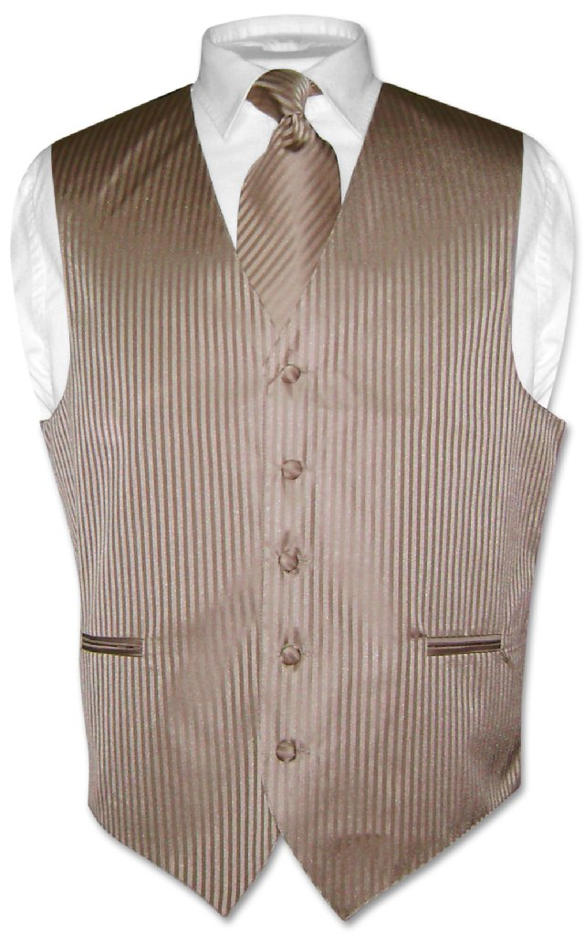 Men's Dress Vest NeckTie MOCHA Lt. BROWN Vertical Striped...