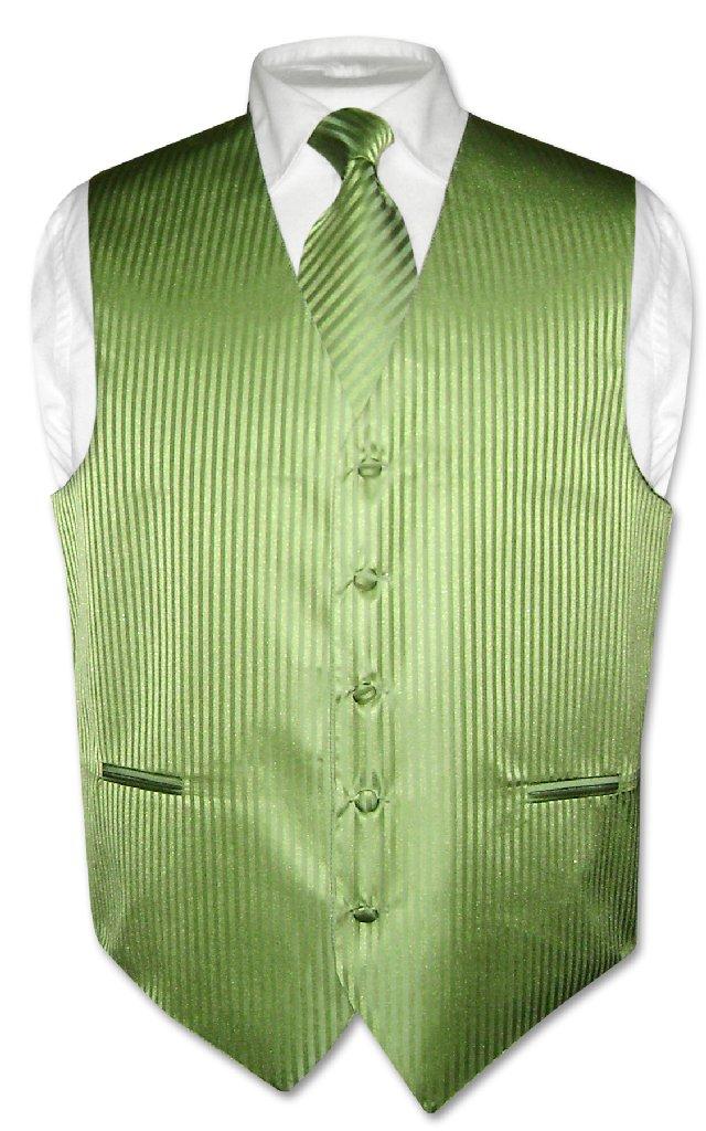Men's Dress Vest NeckTie SPINACH GREEN Vertical Striped D...