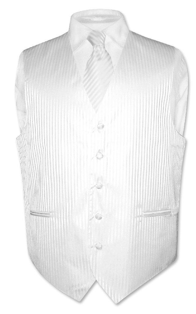 Men's Dress Vest & NeckTie WHITE Color Vertical Striped D...