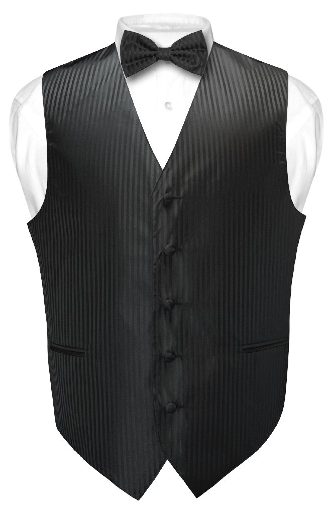 Men's Dress Vest & BOWTie BLACK Vertical Striped Design B...