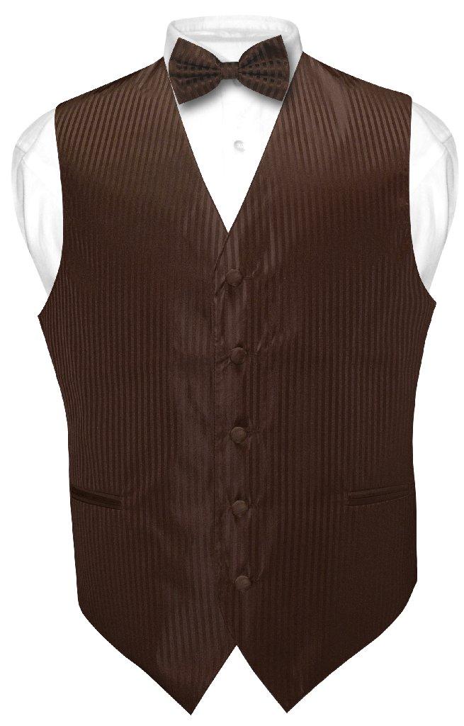 Men's Dress Vest & BOWTie CHOCOLATE BROWN Color Striped D...