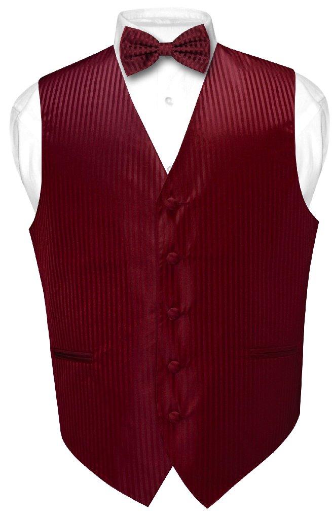 Men's Dress Vest & BOWTie BURGUNDY Vertical Striped Desig...