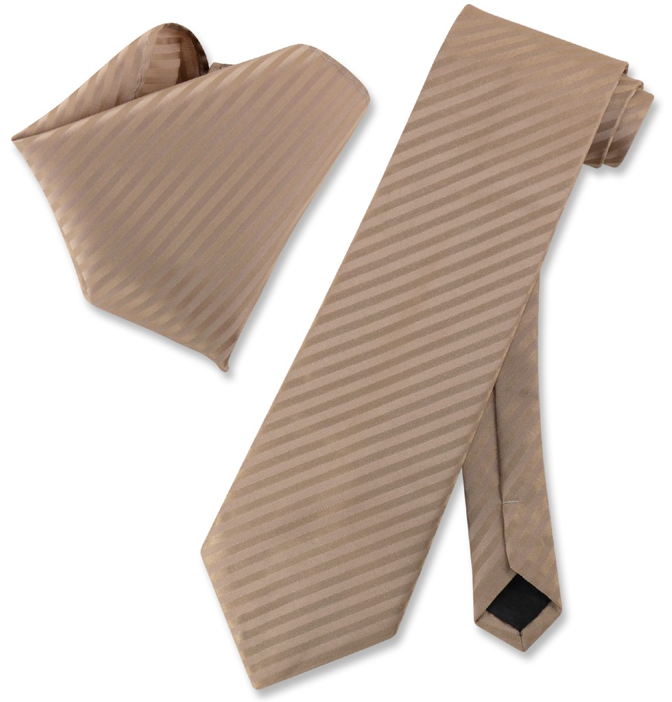 Vesuvio Napoli MOCHA Light BROWN Striped NeckTie & Handke...