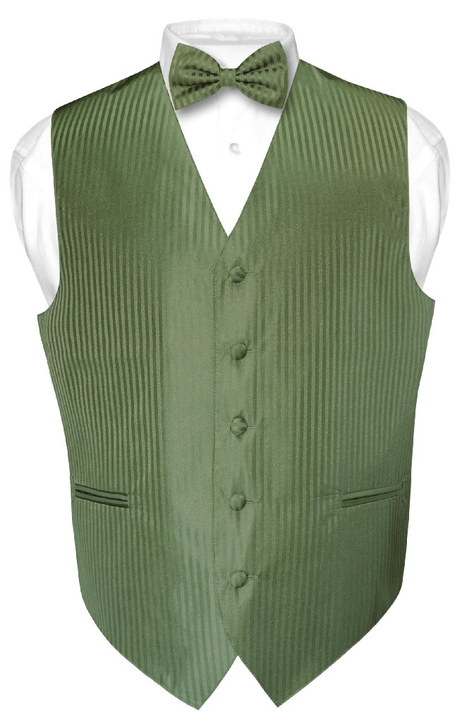 Men's Dress Vest & BOWTie OLIVE GREEN Color Vertical Stri...