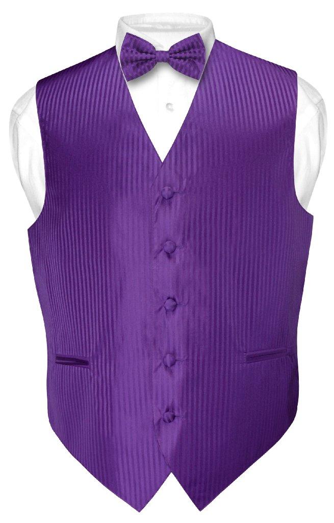 Men's Dress Vest & BOWTie PURPLE Color Vertical Striped D...