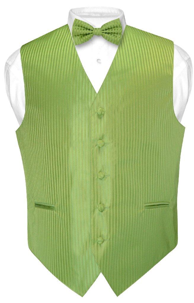 Men's Dress Vest & BOWTie SPINACH GREEN Vertical Striped ...