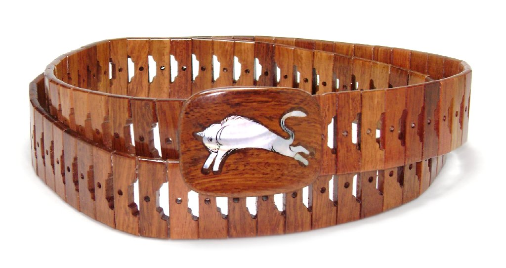 Wooden Belt with BULL Picture Design Pattern Solid Wooden...