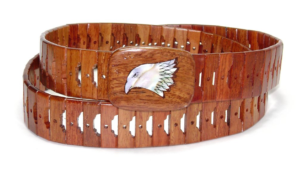Wooden Belt with EAGLE Head Beak Closed Picture Design So...