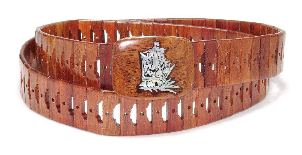 Wooden Belt with SHIP Picture Design Pattern Solid Wooden...