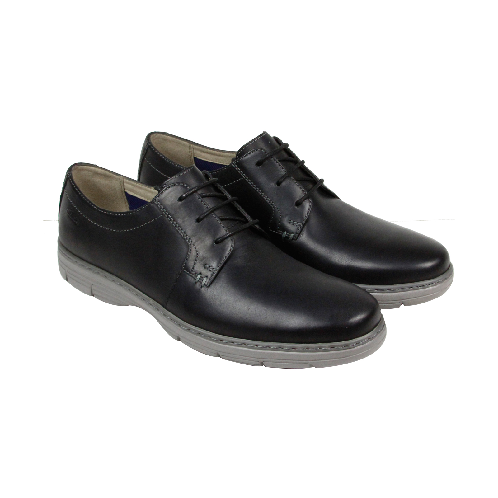 clarks watts pace mens black leather casual dress lace up