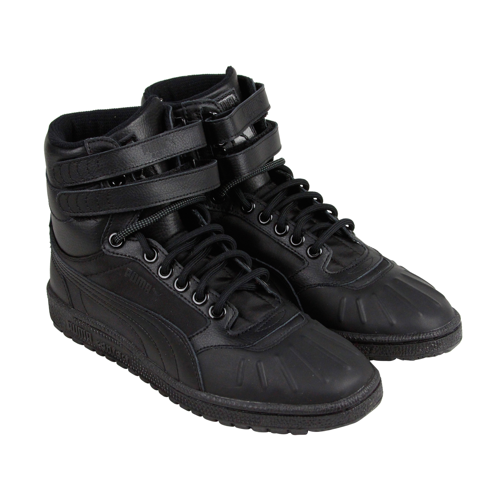 puma sky ii hi duck boot mens black leather high top lace