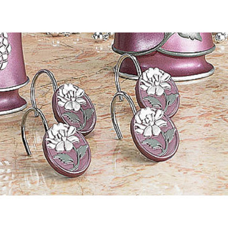 Avanti 12 Piece Shower Curtain Hooks Rings Purple Silver