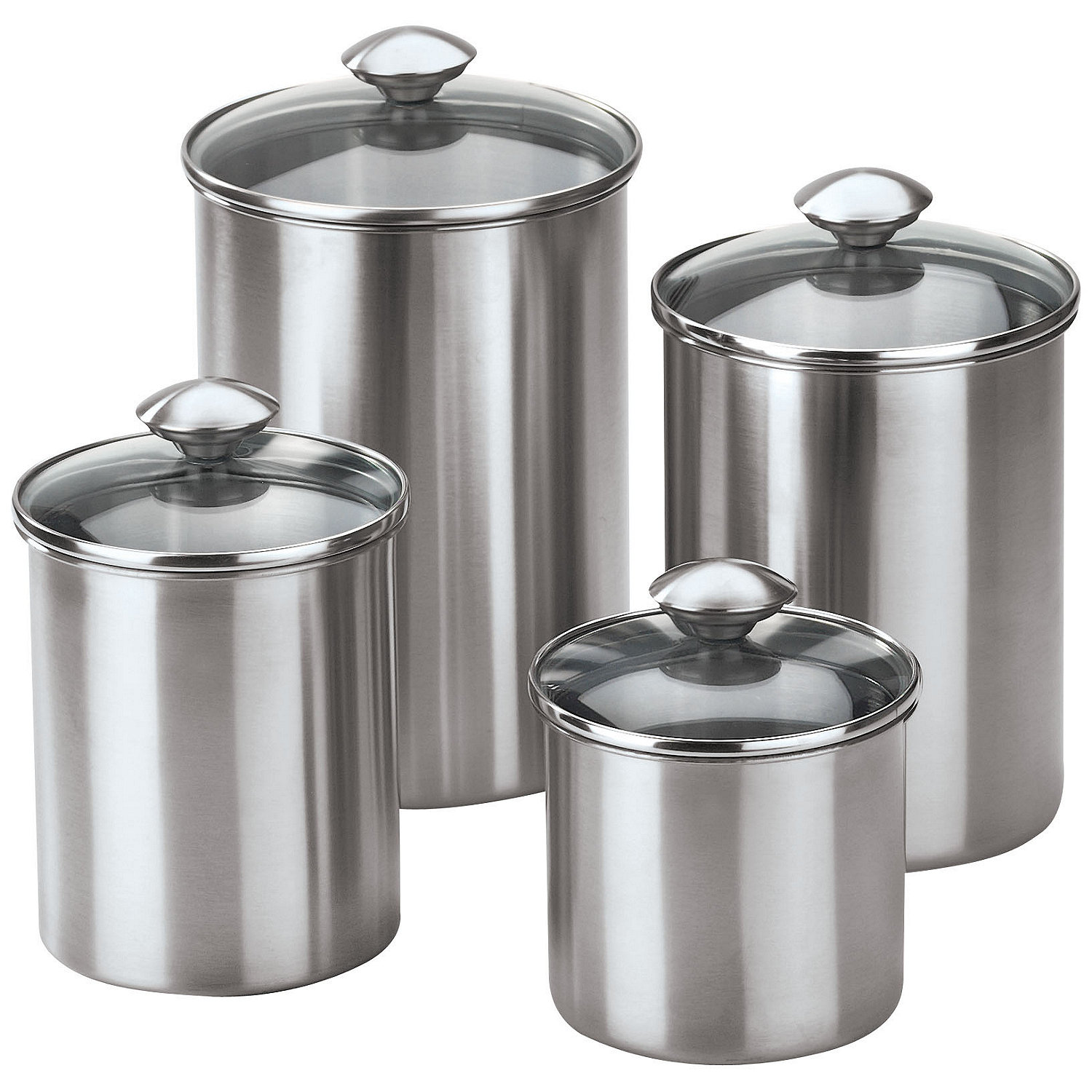 4 piece stainless steel modern kitchen canister set ebay for Kitchen kitchen set