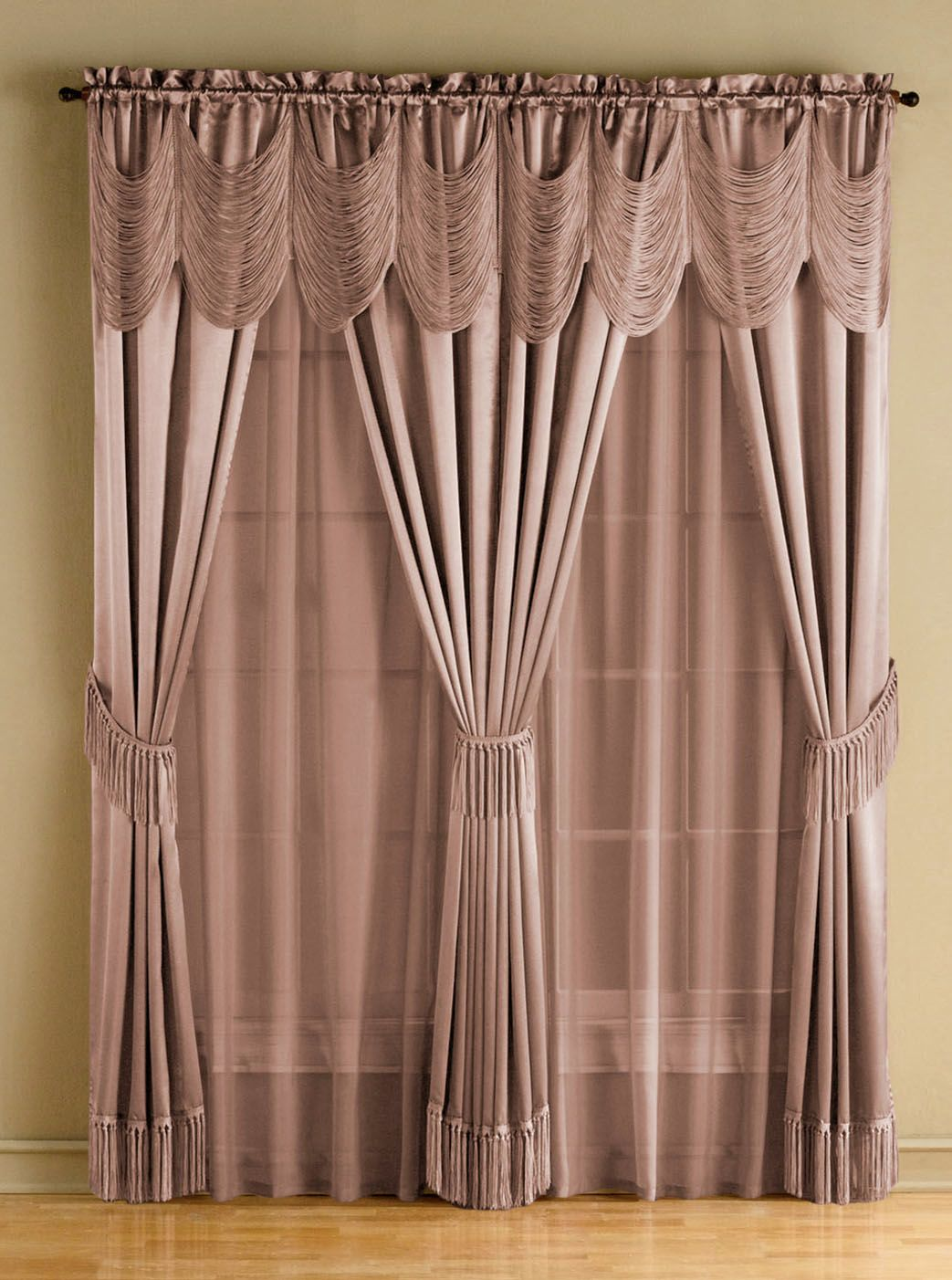 Includes 1 one-rod drapery set. 6-pc. set includes two panels, two ...