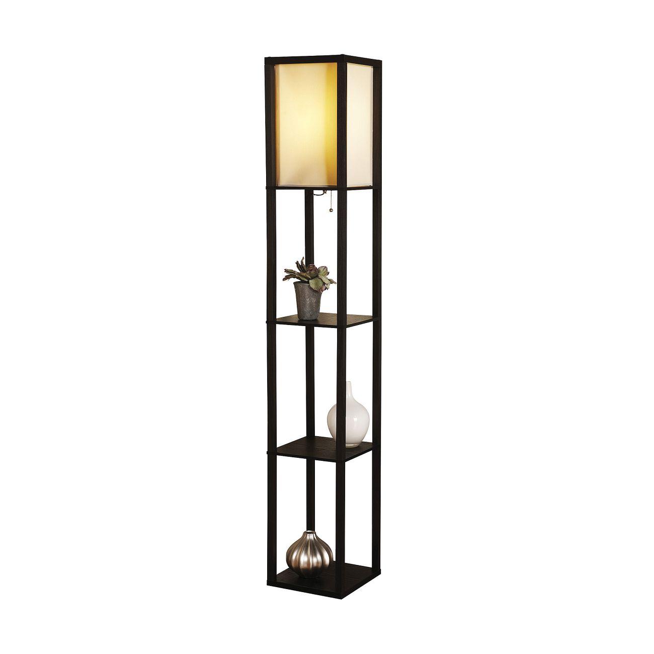 adesso contempory 3 shelf floor lamp dark finish ebay. Black Bedroom Furniture Sets. Home Design Ideas