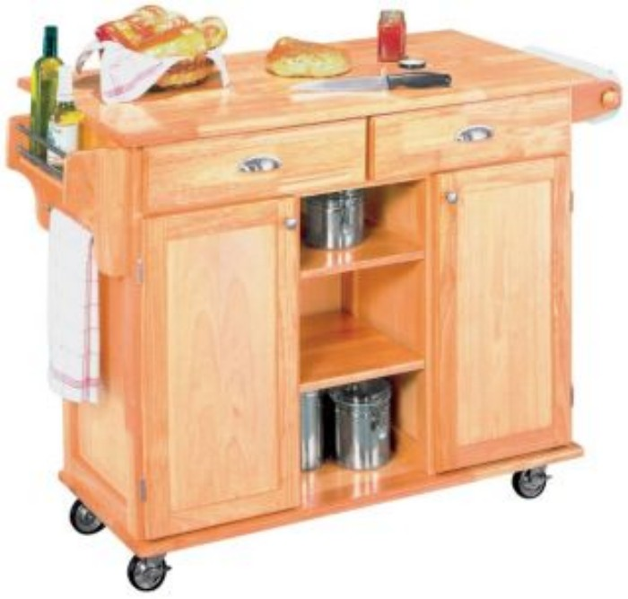 Kitchen Work Center Rolling Island Cart Folding Wood Bar