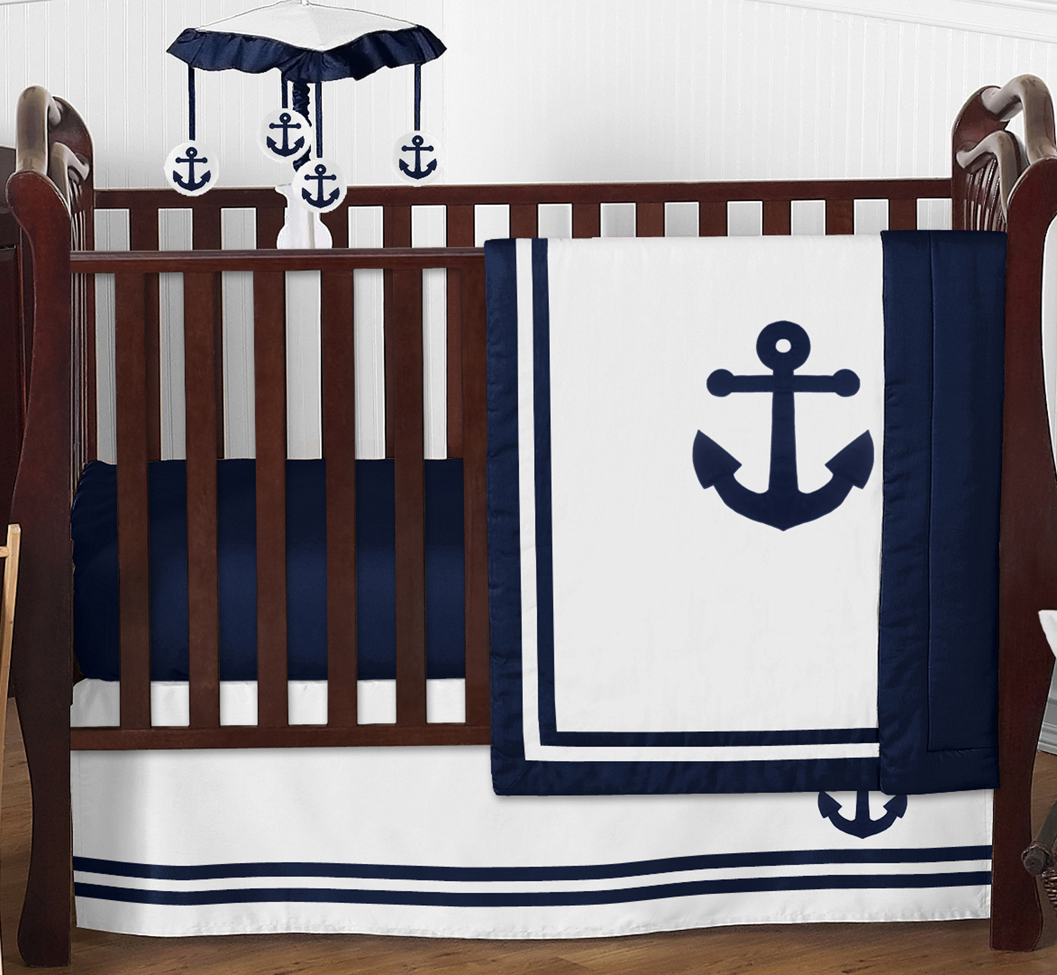 Nautical Infant Bedding: Sweet Jojo Navy Blue Nautical Boat Anchor Bumperless Baby