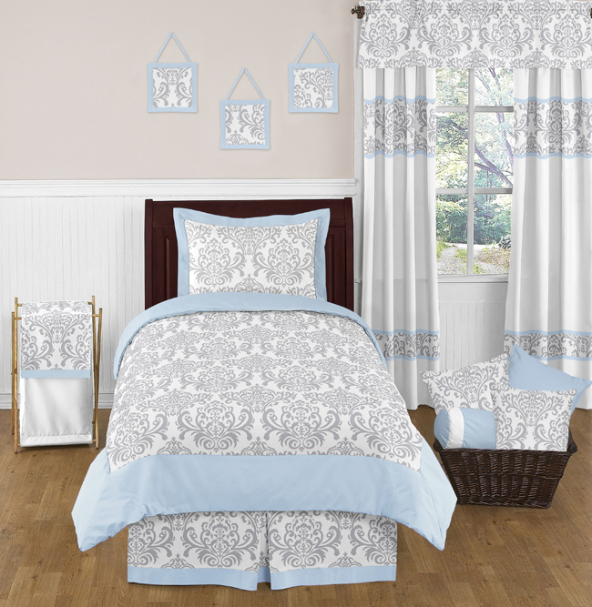 white damask twin size bed bedding comforter set for girl boys bedroom