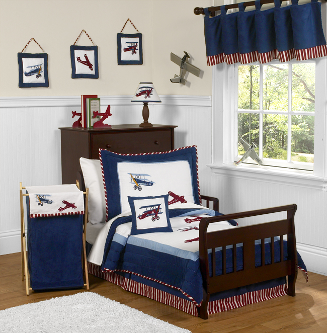 Blue White Airplane Boy Toddler Size Bedding For A Kid Bed ...