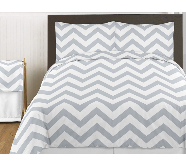sweet jojo designs chevron gray and white twin boy girl teen modern bedding set ebay. Black Bedroom Furniture Sets. Home Design Ideas
